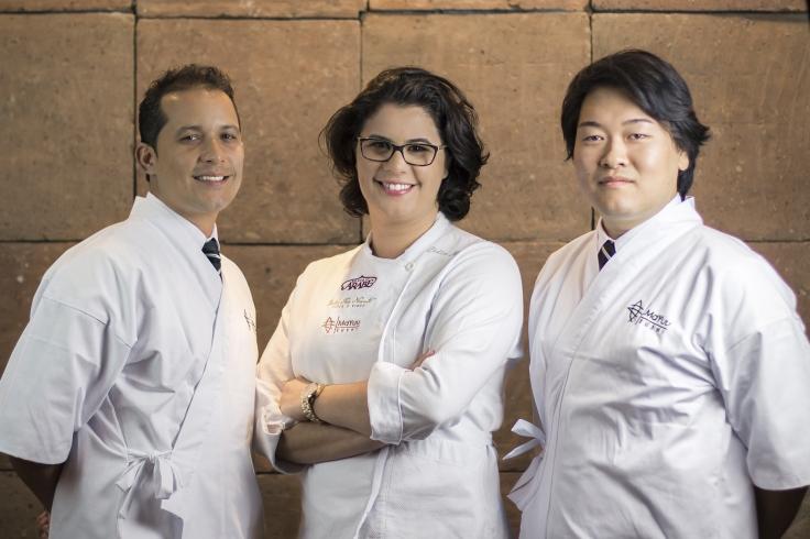 Leonardo Bezerra, Chef Lidia Nasser e Nishimoto Massanori_Foto de Thiago Bueno